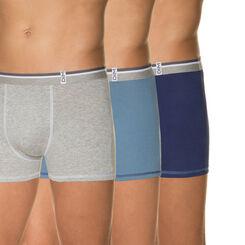 Lot de 3 boxers bleus et gris chiné 100% coton-DIM