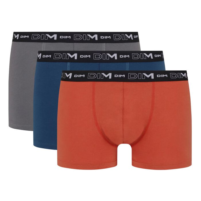 Pack de 3 bóxers para hombre de algodón elástico rojo azul gris Dim, , DIM