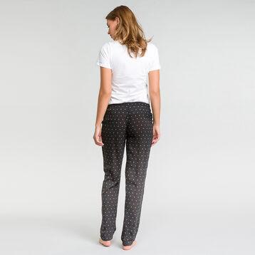 Pantalón largo de pijama negro estampado plumetis blanco - Fashion  , , DIM
