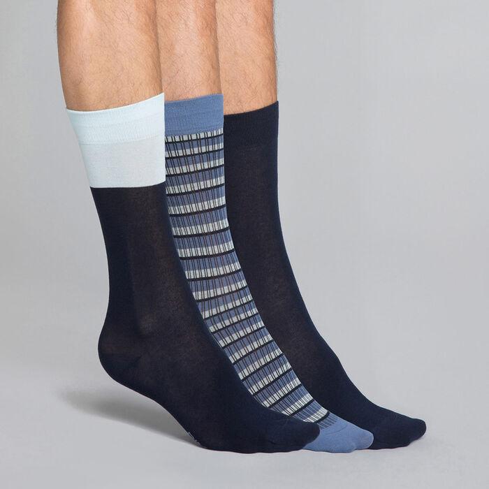 Pack de 3 pares de calcetines azules Hombre - Coton style, , DIM