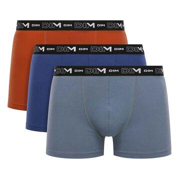 Pack de 3 bóxers gris, tierra y azul de algodón elástico Coton Stretch, , DIM