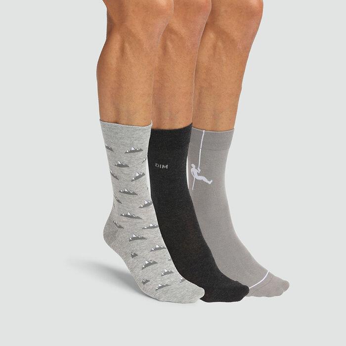 Pack de 3 pares de calcetines para hombres estampado montañero gris Coton Style, , DIM