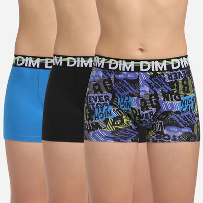 Pack de 3 bóxers negro y azul para niño de algodón elástico Eco Dim 3D, , DIM