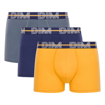 Pack de 3 bóxers de algodón elástico amarillo, gris y azul - Dim Powerful, , DIM