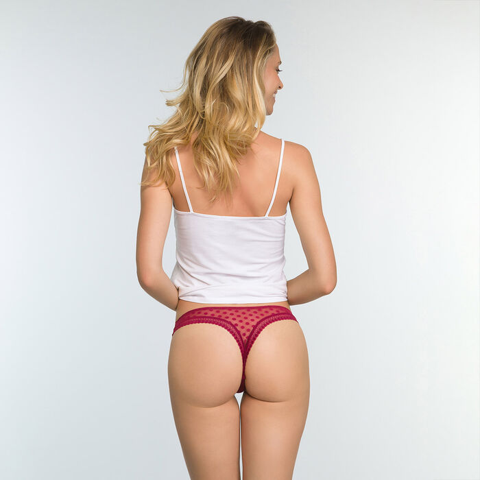 Tanga rojo cereza para mujer de tul de lunares Dotty Mesh Bar à Culottes, , DIM