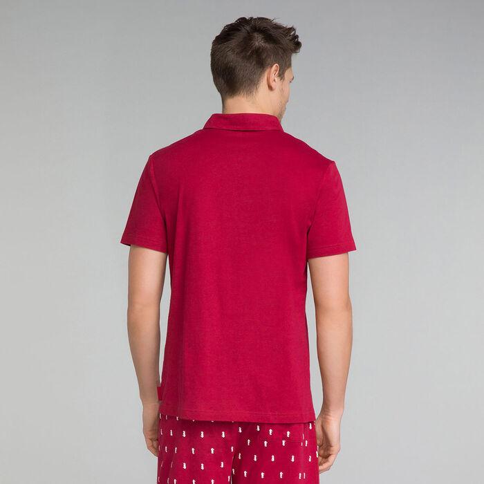 Polo de pijama rojo de algodón con bolsillo - Mix and Match, , DIM