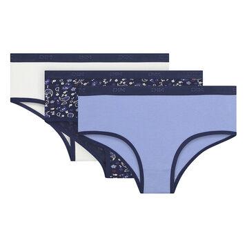 Pack de tres culottes niña azul marino de algodón elástico , , DIM
