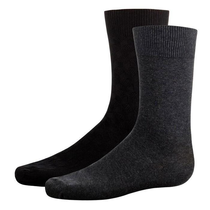 Pack de 2 pares de calcetines caña media negros y grises hombre Coton Style, , DIM