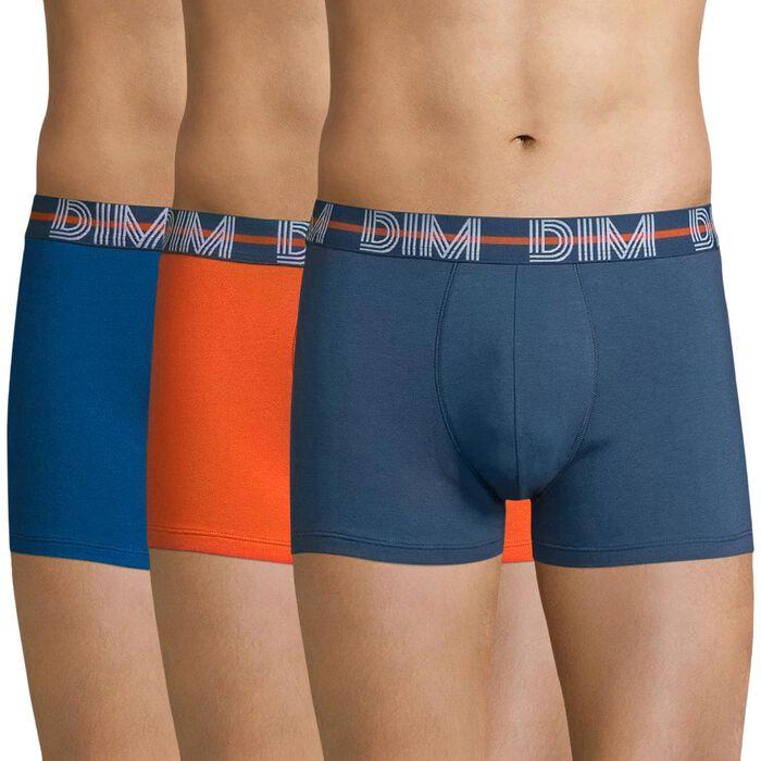 Pack de 3 bóxers azules y naranja algodón elástico - Dim Powerful, , DIM
