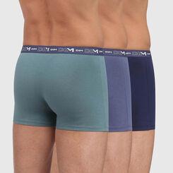 Pack de 3 bóxers azul marino, azul oscuro y verde Coton Stretch, , DIM