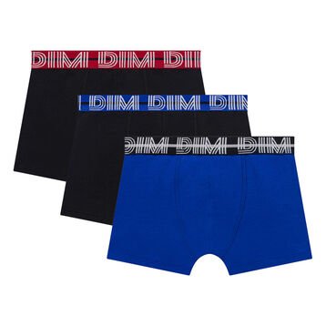 Pack de 3 bóxers niño de algodón elástico negros y azul - Coton Stretch, , DIM