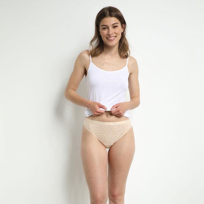 Pack de 3 tangas de algodón elástico con mensajes femeninos Les Pockets, , DIM