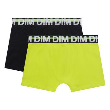 Pack de 2 bóxers niño de algodón negro y amarillo flúor - Eco Dim, , DIM