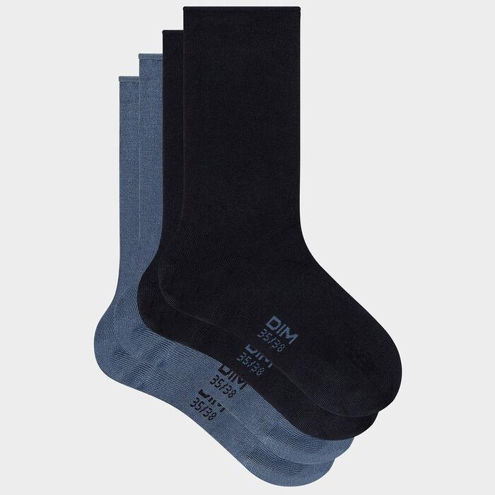 Pack de 2 pares de calcetines para mujer de algodón modal azul marino Dim, , DIM