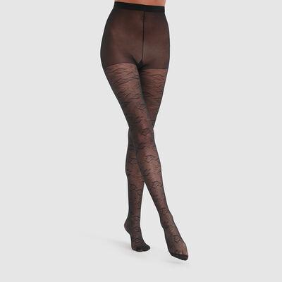 Pantis negros de encaje con estampado de anémonas Dim Style 35D, , DIM