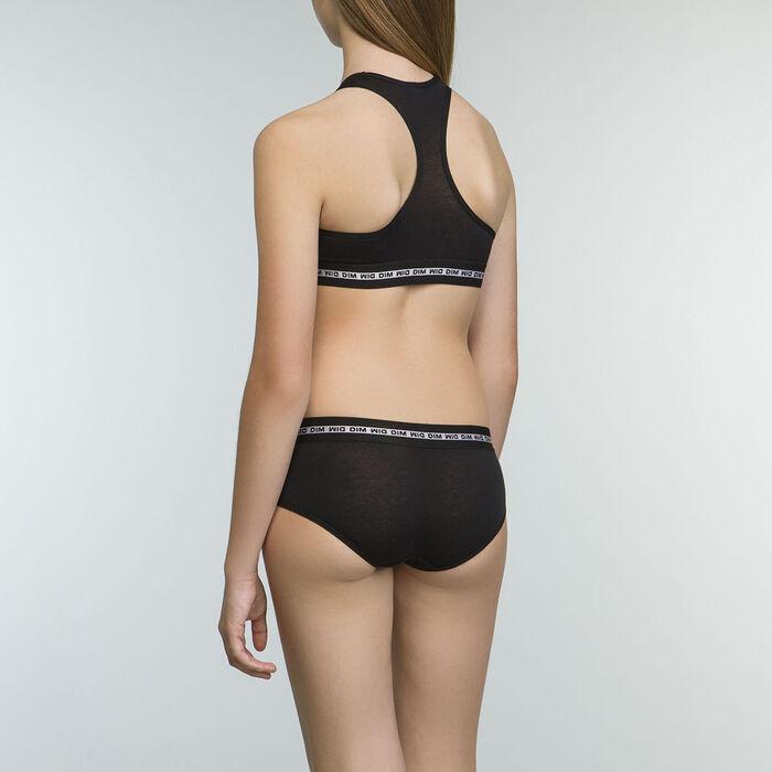 Culotte negro de algodón elástico para niña Dim Sport, , DIM
