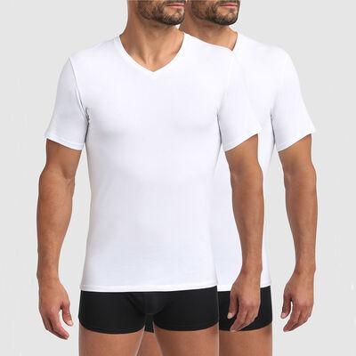 Pack de 2 camisetas blancas para hombre de algodón bio y cuello V Green by Dim, , DIM