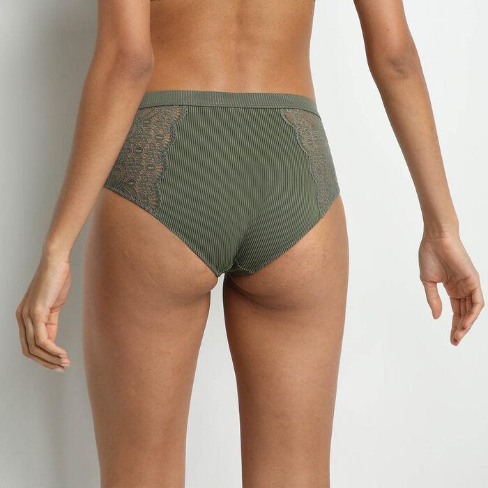 Braga de cintura alta de microfibra y encaje Verde Caqui Jolie Madame, , DIM