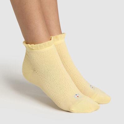 Calcetines para mujer de hilo de Escocia con un borde de volante amarillo Dim Made in France, , DIM