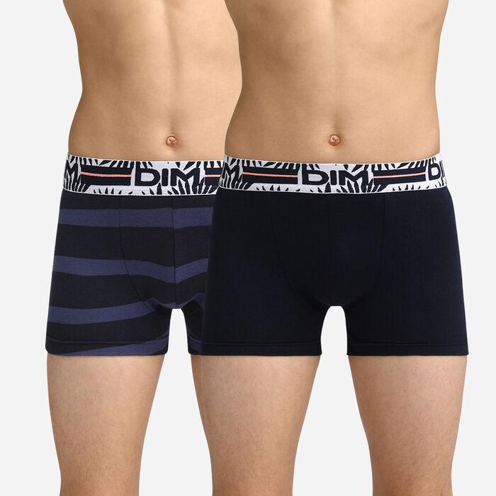 Pack of 2 black and blue striped trunks Dim Boy, , DIM