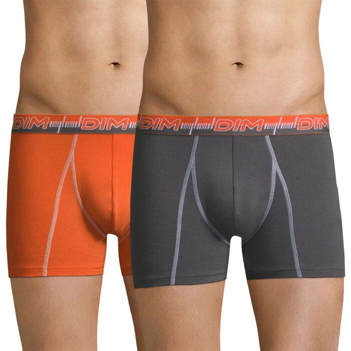 Lot de 2 boxers 3D Flex Dynamic orange et gris-DIM