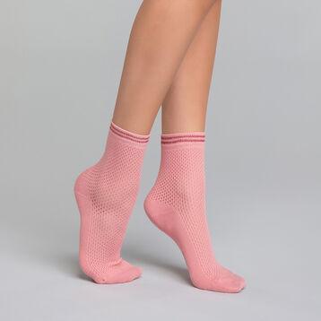 Calcetines bajos de algodón efecto tricot rosa - Dim Coton Style, , DIM