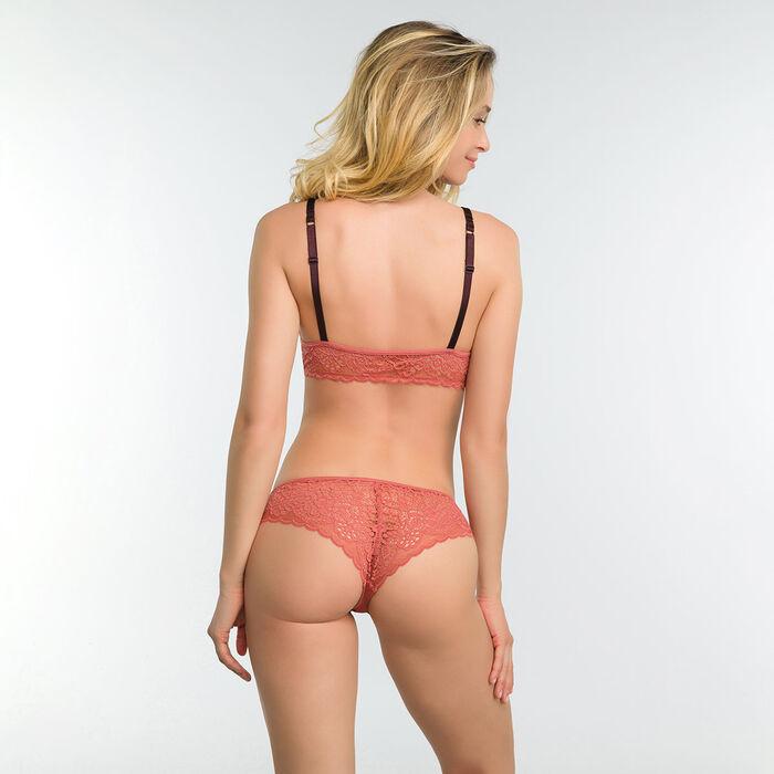 Sujetador sin aros triangular de encaje rosa antiguo - Dim Sublim, , DIM
