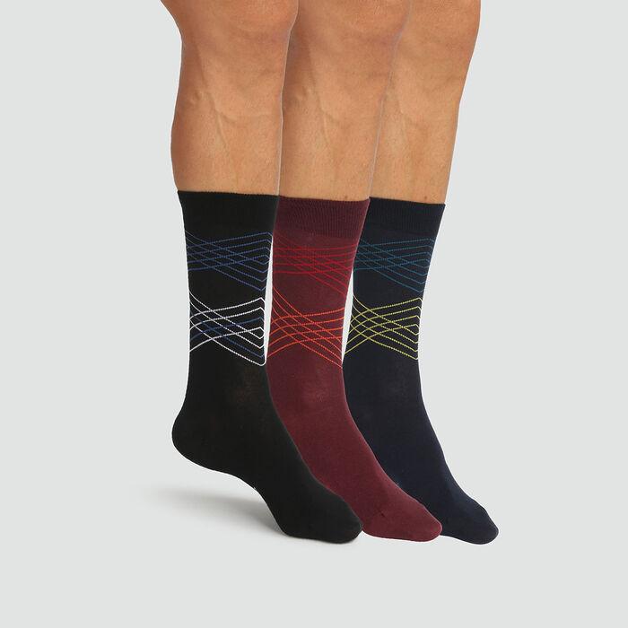Pack de 3 pares de calcetines para hombre tartán negro y burdeos Coton Style, , DIM