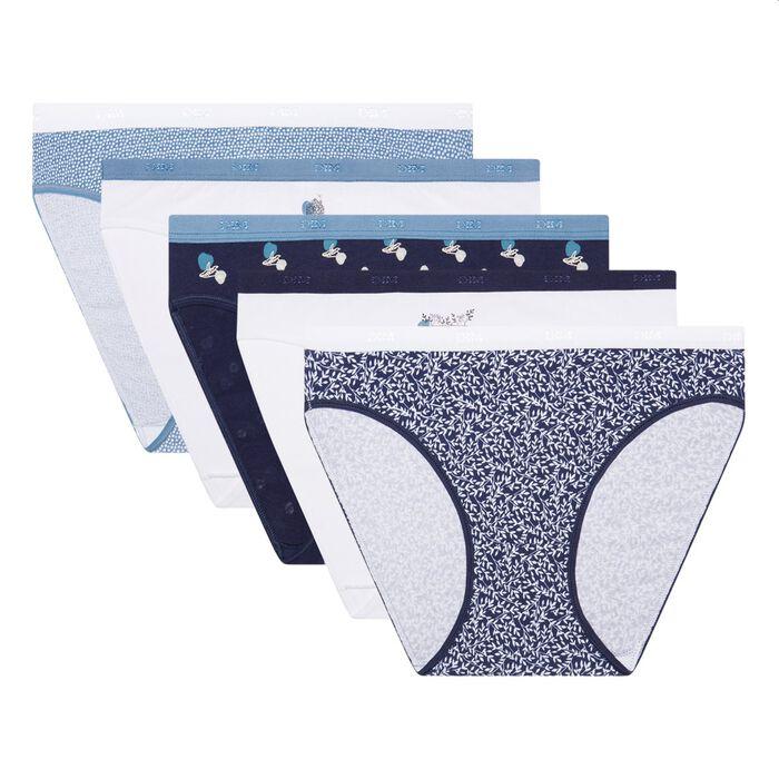 Pack de 5 braguitas de algodón elástico estampado boreal Les Pockets Coton, , DIM
