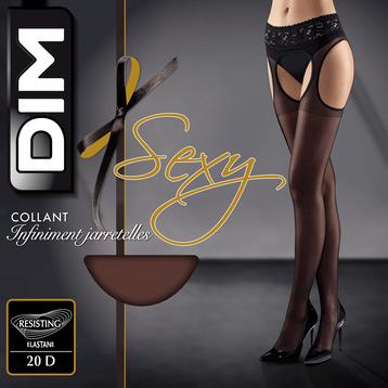 Collant noir infiniment jarretelles 20D-DIM