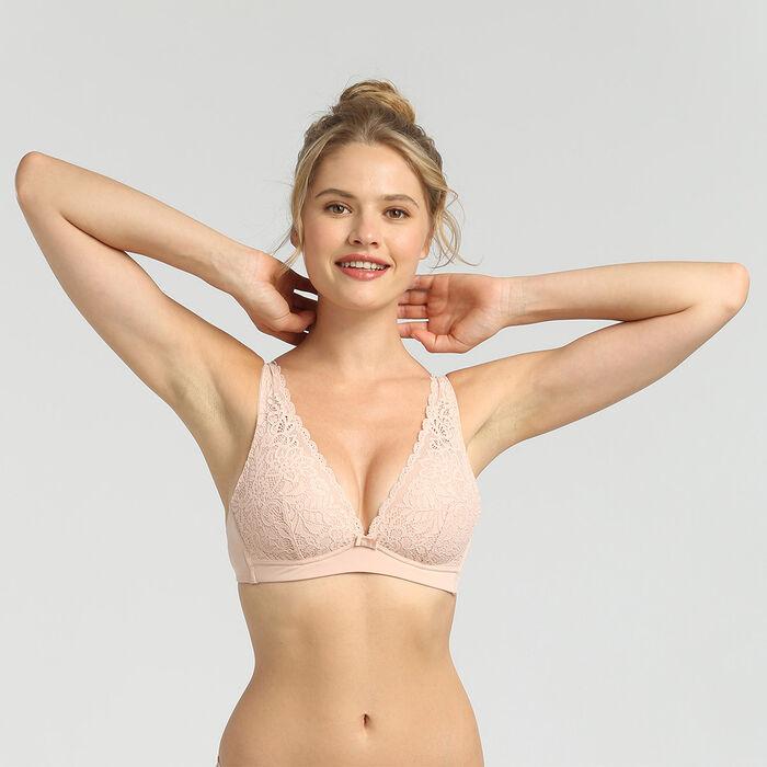 Sujetador triangular sin aros rosa palo Sublim Dentelle de Dim, , DIM