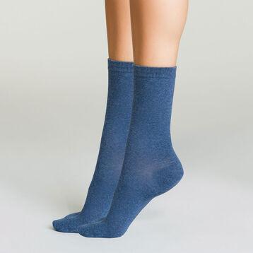 Pack de 2 pares de calcetines para mujer azul marino Basic Coton, , DIM
