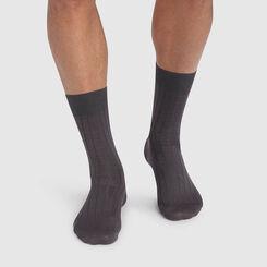 Pack de 2 pares de calcetines para hombre gris de hilo de Escocia, , DIM