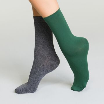 Pack de 2 pares de calcetines de microfibra mujer, , DIM