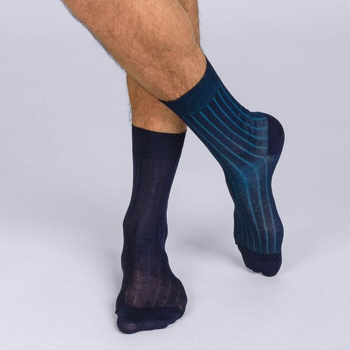 Lote de 2 calcetines de media pantorrilla acanalados y finos, en color liso azul para hombre de hilo de Escocia, , DIM