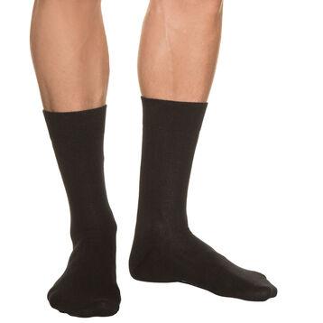 Calcetines acanalados negros para hombre de puro algodón, , DIM