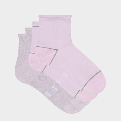 Pack de 2 pares de calcetines bajos para mujer de lurex plateado lavanda Coton Style, , DIM