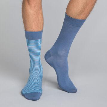 Pack de 2 pares de calcetines azules lisos y de rayas Hombre - Dim Coton Style, , DIM