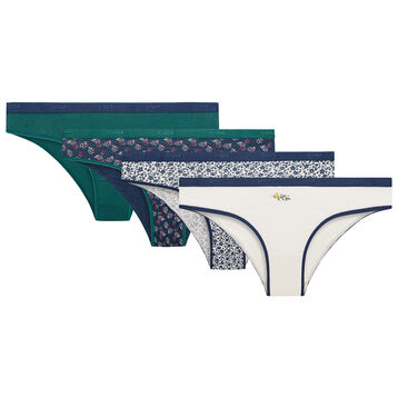 Pack de 4 braguitas con motivos de flores de algodón elástico - Les Pockets, , DIM