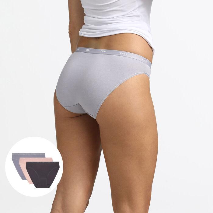 Pack de 3 braguitas de algodón elástico rosa, gris y taupe ECODIM Les Pockets, , DIM