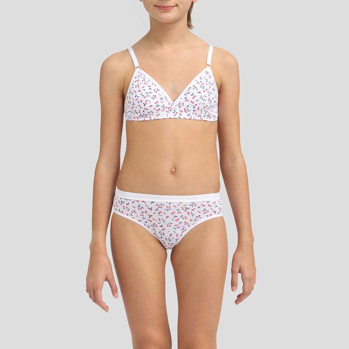 Sujetador triangular blanco cerezas de algodón para niña Les Pockets Eco, , DIM