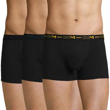 Pack de 3 bóxers negros de algodón elástico - Coton Stretch, , DIM