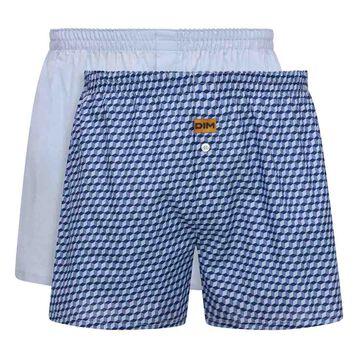 Pack de 2 calzoncillos azul cielo y estampado cúbico 100% algodón , , DIM