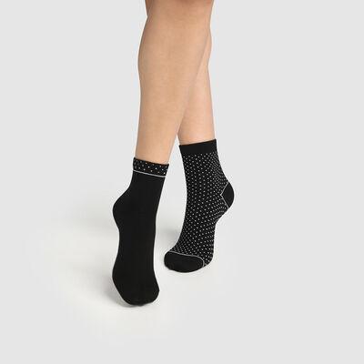 Pack de 2 pares de calcetines bajos para mujer de algodón bio de lunares negros Green by Dim, , DIM