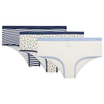 Pack de 3 culottes de algodón estampado Odyssée - Les Pockets Coton Stretch, , DIM