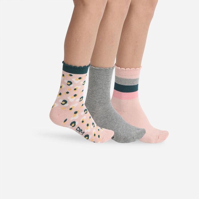 Pack de 3 pares de calcetines para niños de camuflaje Rosa y Gris Coton Style, , DIM