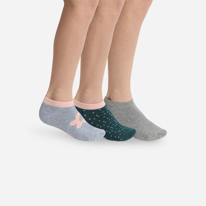 Pack de 3 pares de calcetines cortos para niños con flores Gris Coton Style, , DIM