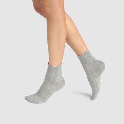 Pack de 2 pares de calcetines bajos gris de algodón y lurex plateado Coton Style, , DIM