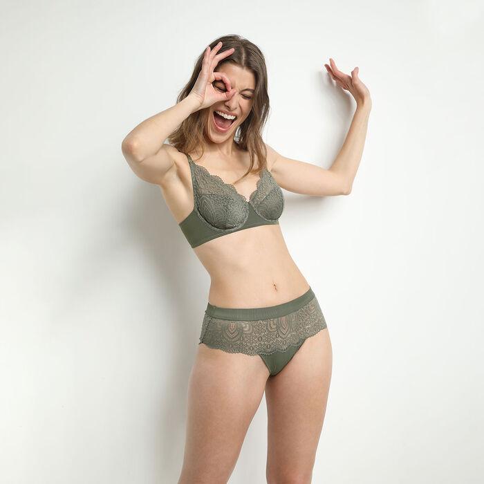 Sujetador foulard de microfibra y encaje caqui Jolie Madame, , DIM