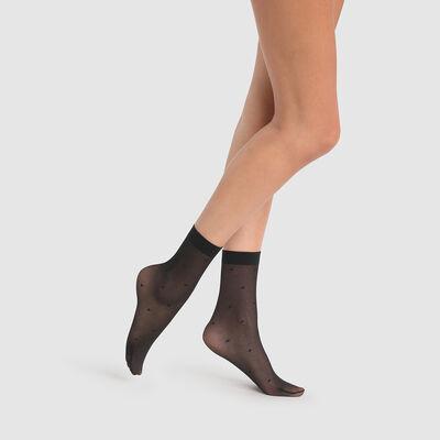 Calcetines fantasía negros de red con estampado plumeti Dim Style 27D, , DIM